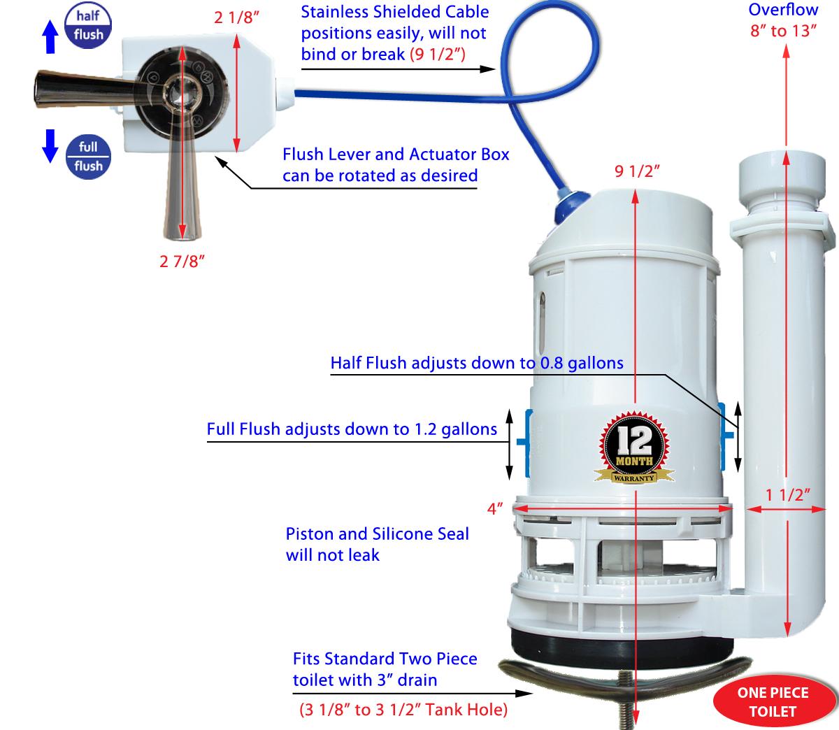 Basic Kit Universal Dual Flushsaver Lever Handle 1