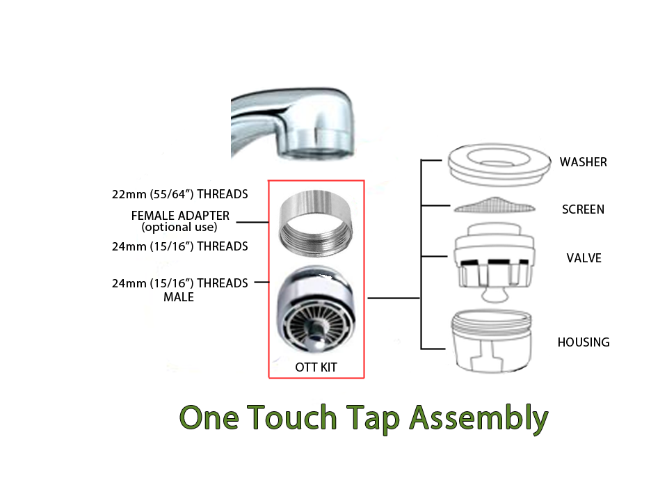 bathroom sink faucet aerator. new1 ott sink assy3 One Touch Tap Faucet Valve  Kitchen or Bathroom Sink Water Saver