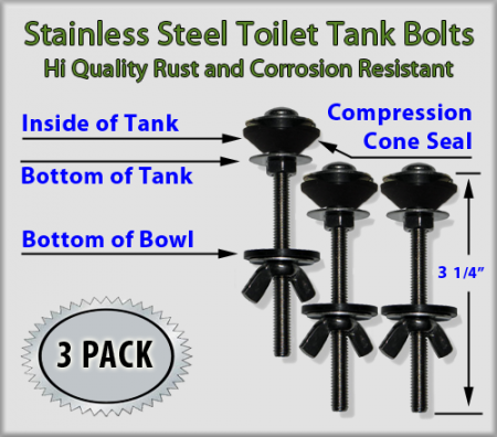Stainless Steel Toilet Tank Mounting Bolts Set Of 3